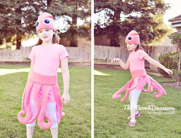 Octopus costume/ by my fantastic creative sister Shea Parker.   My child is in love with her stuffed animal octopus (it's really a squid) from Santa crux beach boardwalk and Monterey bay aquarium