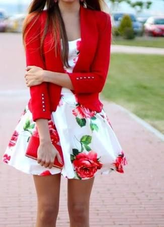 Floral print dress with bright red blazer
