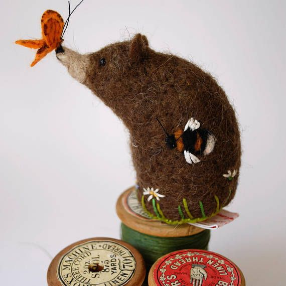 Original Handmade Needle Felted Bear Butterfly and Bee Pin Cushion