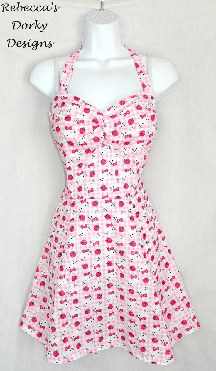 Sale! Gingham Hello Kitty dress. by RebeccasDorkyDesigns on Etsy https://www.etsy.com/listing/218934704/sale-gingham-hello-kitty-dress