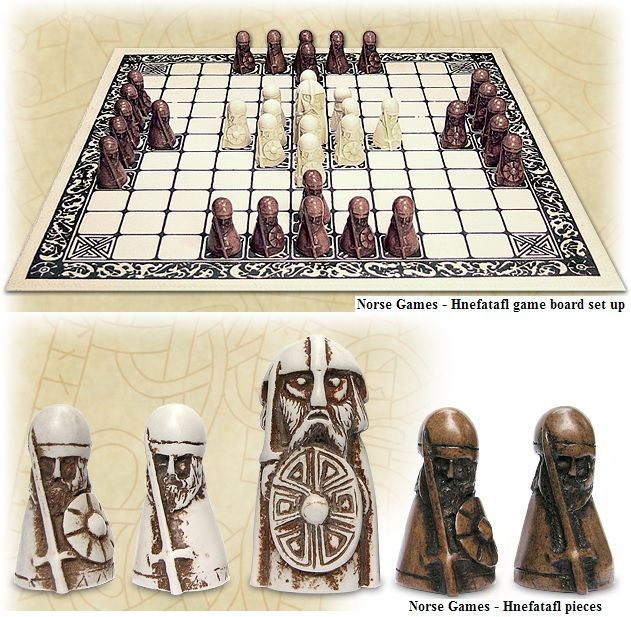 Hnefatafl - popular Norse board game that pre-dates Chess. One side, the white pieces in this set, plays a thane defending a territory. The other side plays invaders. When Chess became more popular it was common to use one's Hnefatafl pieces as chessmen. The famous Lewis Chess Set is believe to be partly made up of repurposed Hnefatafl pieces.