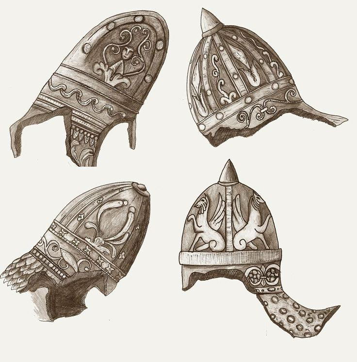 Dacian Helmets from the base of the Trajans column. Drawing made after the sketches made by late-Renaissance Italian artist, Giovanni Batista Piranesi.