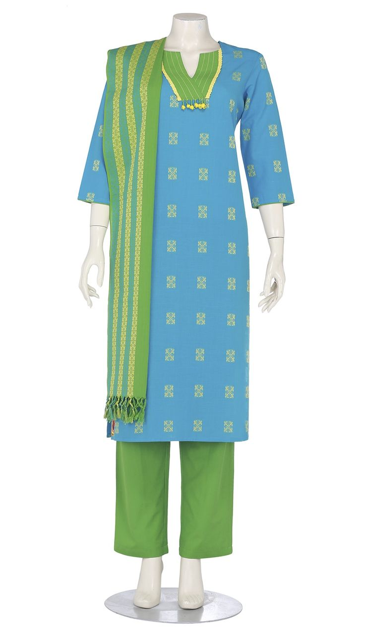 Light Blue Embroidered Hand Loomed Cotton Shalwar Kameez Set