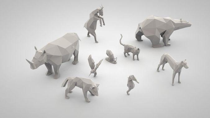 set of low poly animals | 3D Print Model merzliakovdenis@yandex.ru 3D models to order