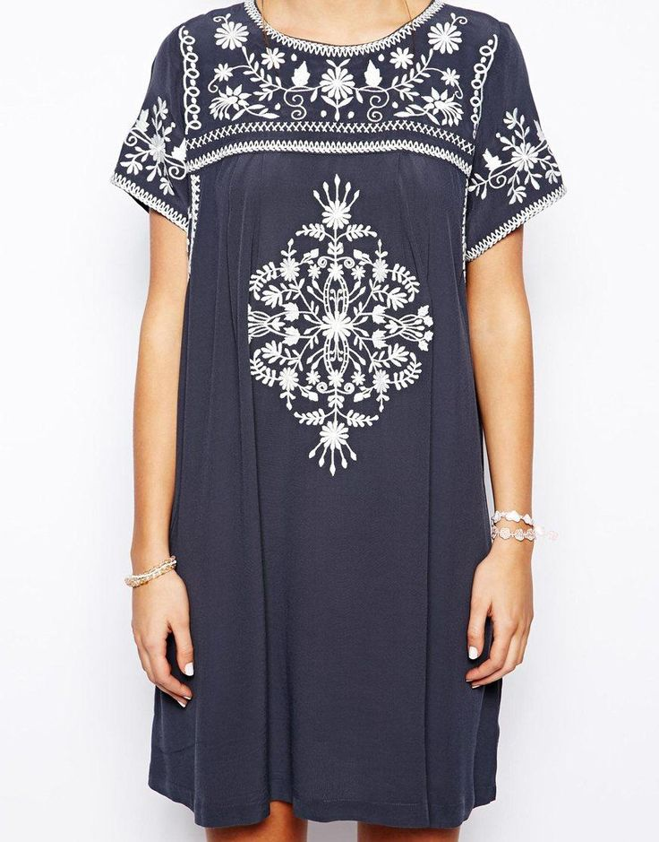Little White Lies | Little White Lies Smock Dress With Embroidery at ASOS.