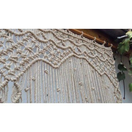 Perdea iuta handmade dimensiuni 93cmx235cm bara sustiner din lemn
