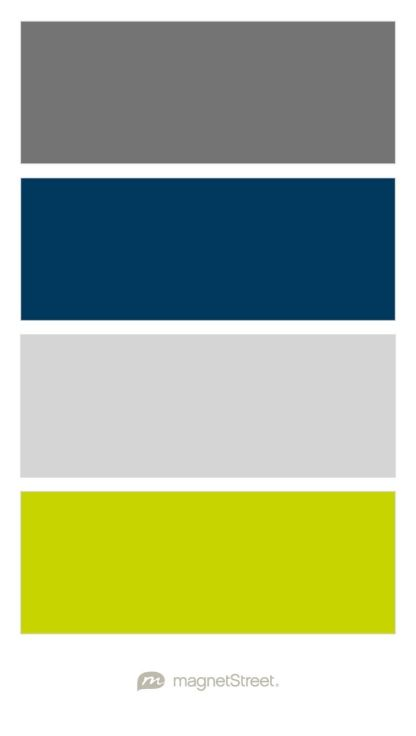 Charcoal, Navy, Silver, and Chartreuse Wedding Color Palette - custom color palette created at MagnetStreet.com
