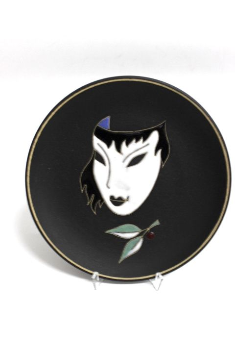 Keramik Wandteller der Marke Ruscha  50er Jahre  Dekor Maske Abmessung d= 18,5cm  Sehr guter gebrauchter Zustand s. Bilder