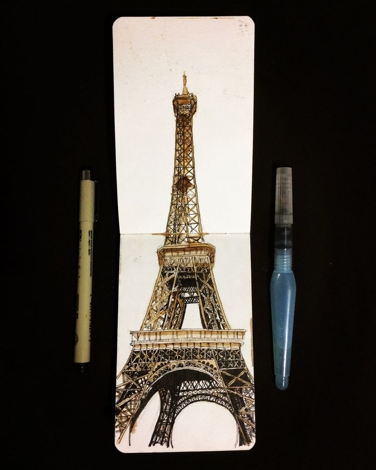 París   street sketch   ink & coffee