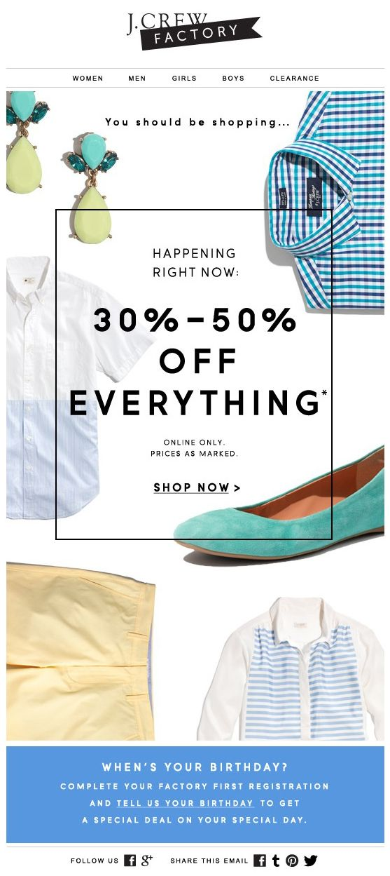 J.Crew Newsletter - Sale Launch and Data Capture