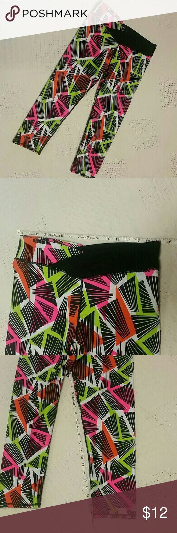 Fabletics Pink green orange tights workout pants Nylon spandex blend pre-owned tights, tags are missing, fits xl, knee length Fabletics Pants Track Pants & Joggers