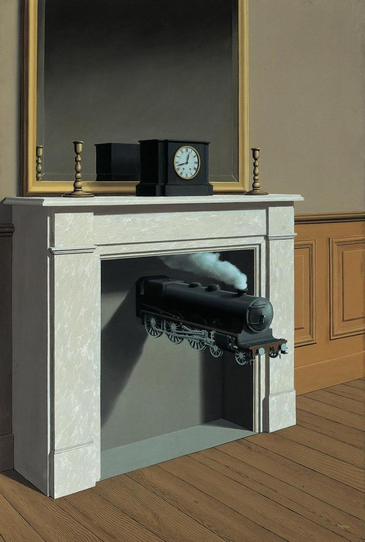 Time Transfixed by René Magritte #Rene_Magritte #Train #Surrealism
