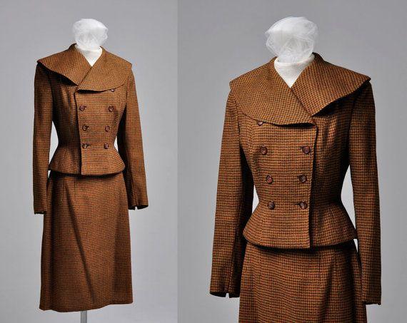 40s Mad Men Brown Tweed Women's Suit Jacket by OpheliaVintage, $120.00