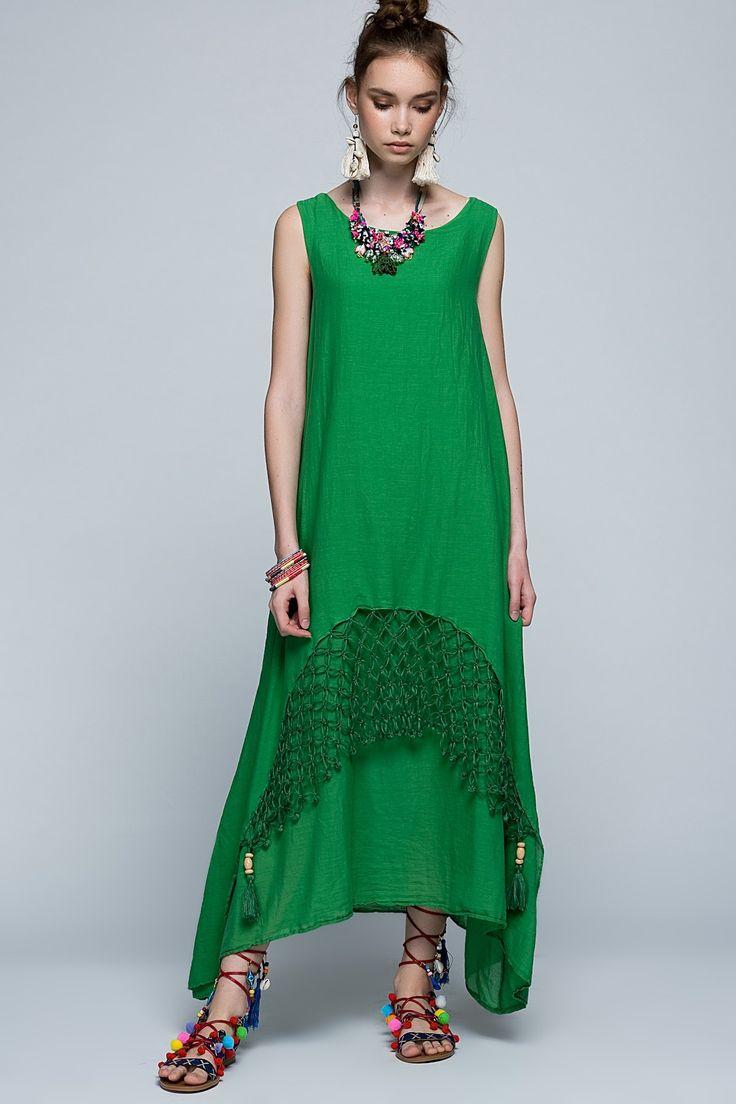Yeşil Kolsuz Elişi Uzun Elbise 9721 Etnik Esintiler | Trendyol