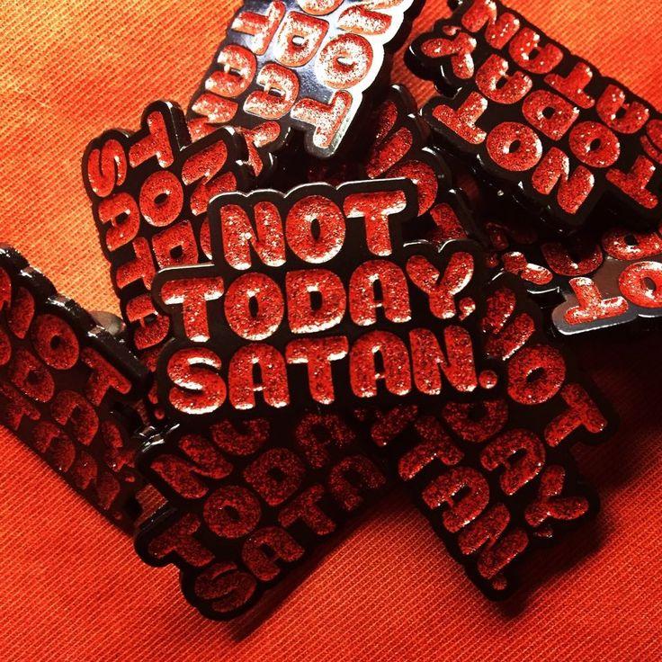 "Sabretooth Dream — Not Today, Satan. 1.25"" Red Glitter Enamel Pin"