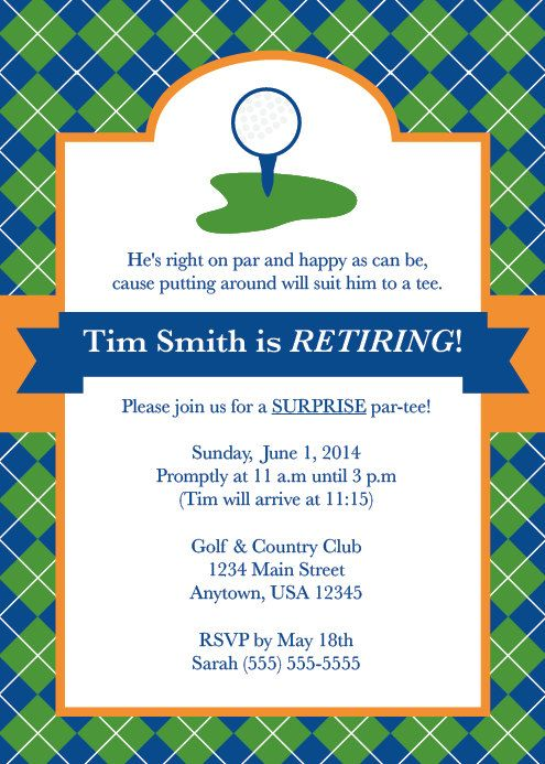 golf party  golf invite  men u0026 39 s retirement party  party for