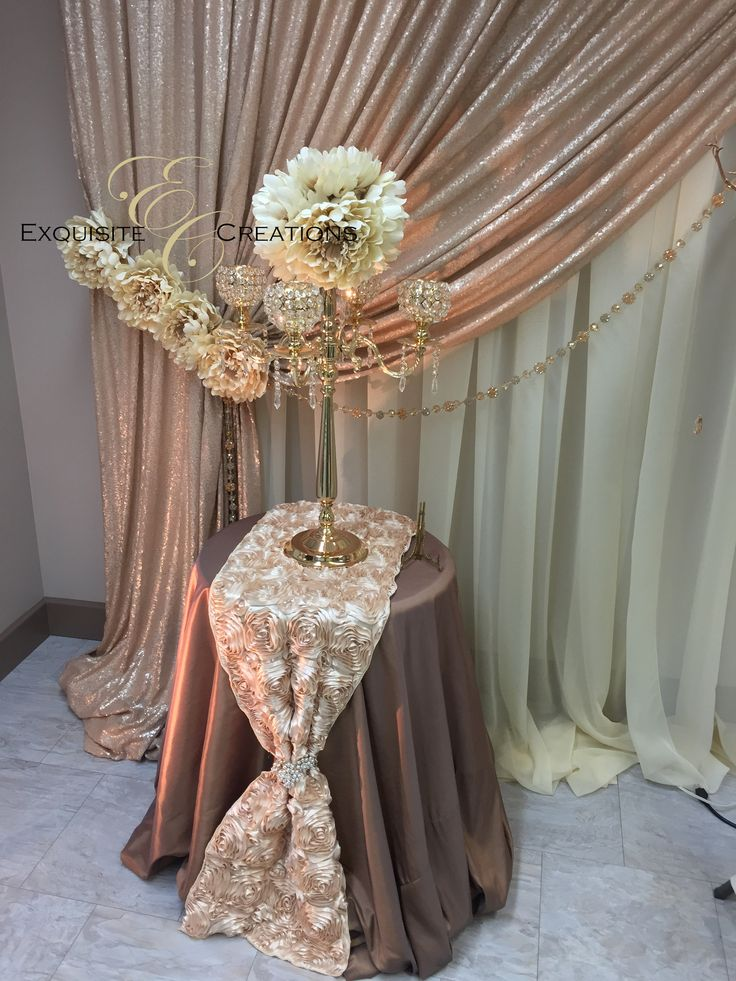 Gold candelabra with flower ball
