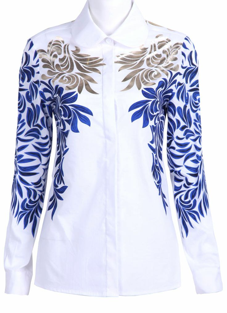 White with Blue Baroque Embroidery Long Sleeve Blouse - #inspirations #embroidery #@Af's 22/4/13