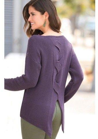 Asymetrický pulovr s rozparkem vzadu #ModinoCZ
