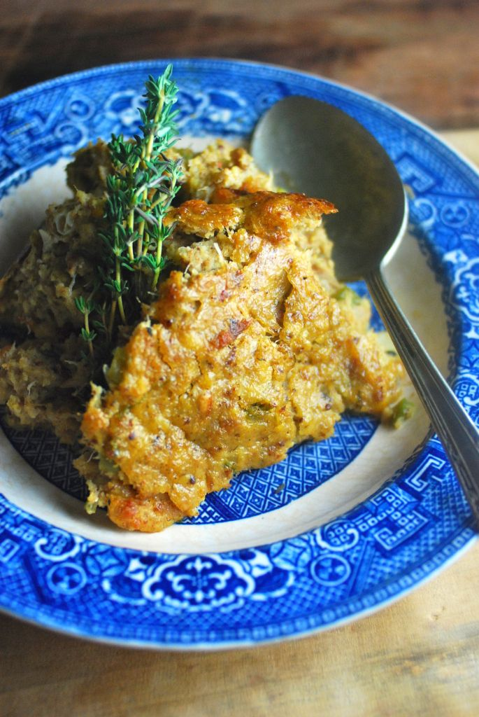 Blue Crab Dressing - classic cornbread dressing, Charm City style. Flavored with Old Bay, oyster sauce and dijon mustard. Serve it for a Baltimore inspired Thanksgiving with turkey and sauerkraut. Use it replace the oyster dressing or better yet, serve both!