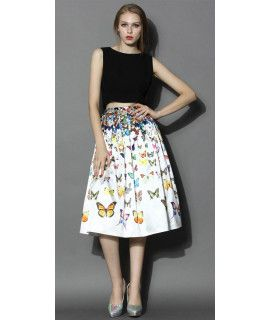 Loving White And Multi Color Georgette Skirt.