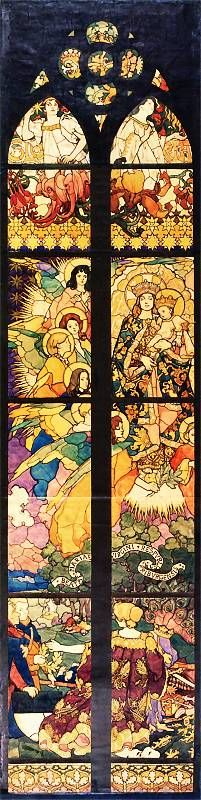 Cartoon  for a stained glass window by Józef Mehoffer