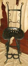 VINTAGE WESTERN FOLK ART BAR COUNTER STOOL STEEL CHAIR HORSE SHOE TRACTOR SEAT
