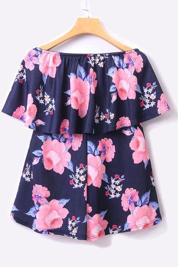 Navy Random Floral Print Overlay Strapless Playsuit