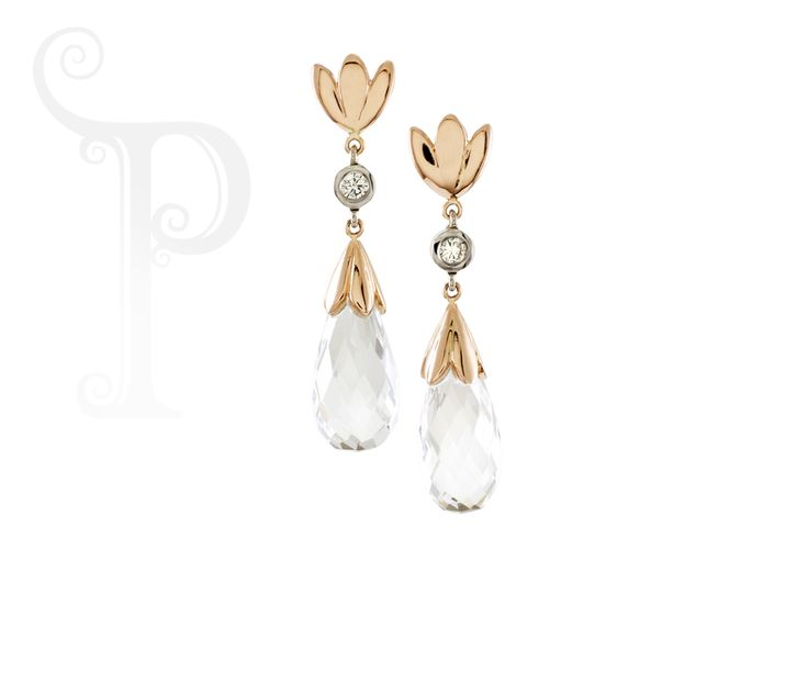 Handmade 9ct Yellow & White Gold Drop Earring, Set With a Round Brilliant Cut Diamond and Briolette Cut Rock Crystal / Clear Quartz