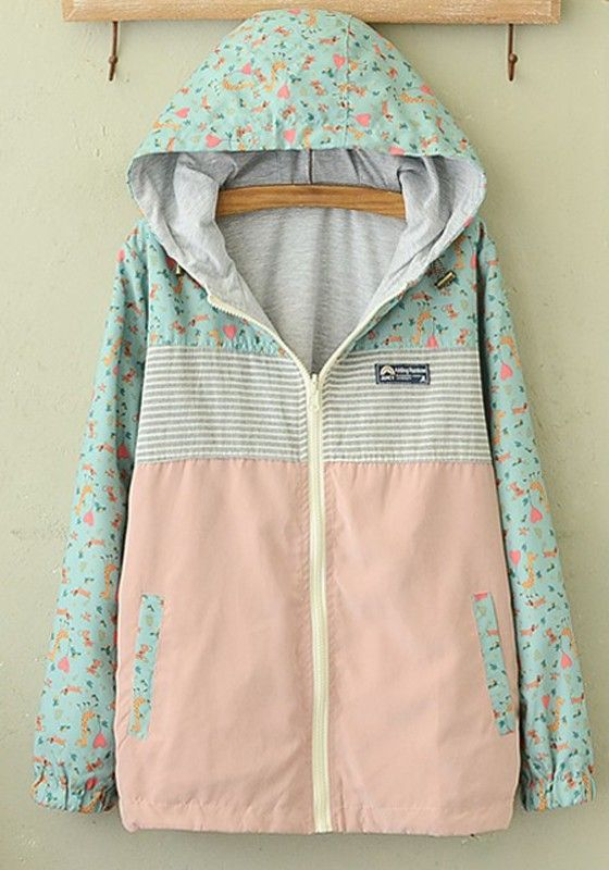 Multicolor Patchwork Long Sleeve Reversible Style Two-way Hooded Zipper Fashion Casual Cute Cotton Padded Rain Coat