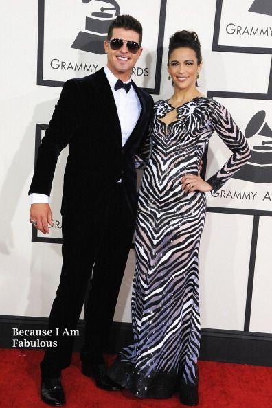 Fabulously Spotted: Robin Thicke Wearing Georgio Armani & Paula Patton Wearing Nicolas Jebra - 2014 Grammy Awards - http://www.becauseiamfabulous.com/2014/01/robin-thicke-wearing-georgio-armani-paula-patton-wearing-nicolas-jebra-2014-grammy-awards/