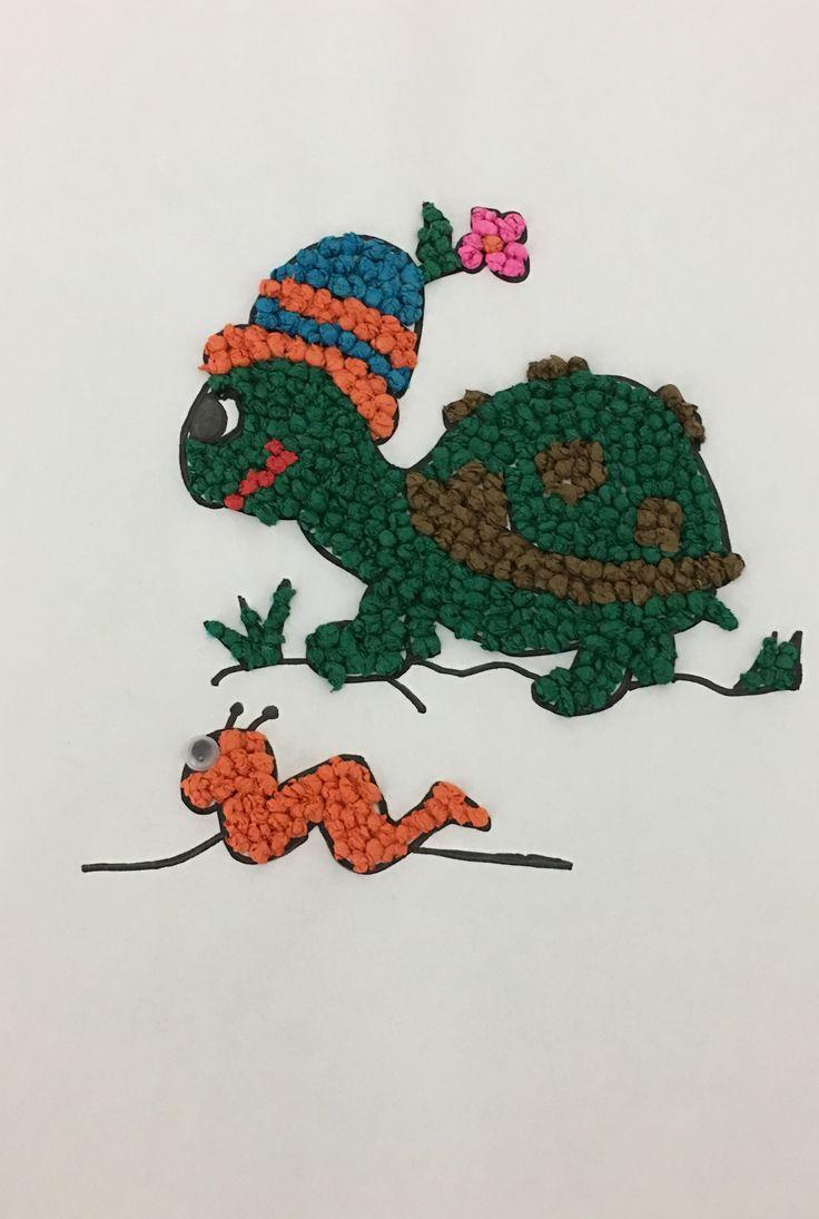 Çocukların küçük kas motor becerilerini geliştirebilecek , grapon kağıdıyla yuvarlanarak yapılmış sanat etkinliği