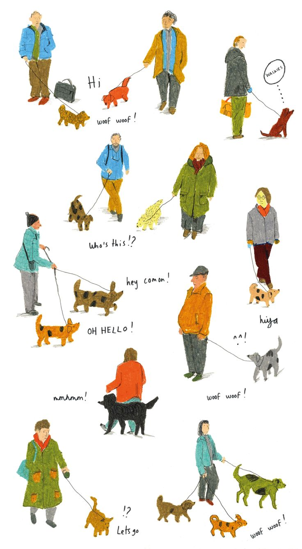 Dog walkers - Miranda Sofroniou Illustration