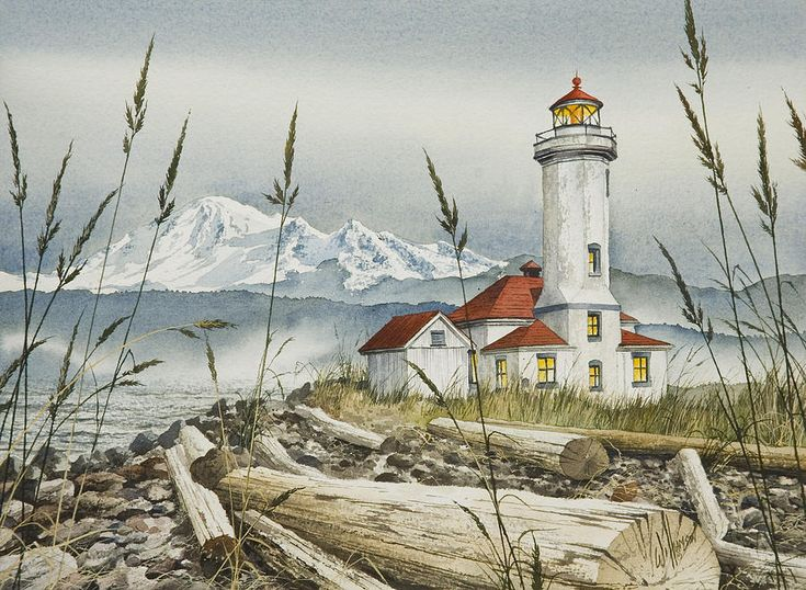 """Point Wilson Lighthouse Painting  - That's Mt. Baker in the background. this is where the Strait of Juan de Fuca makes a turn; it's windy. Fort Flagler is adjacent to the lighthouse and is famous for the filming of """"An Officer and a Gentleman."""""""