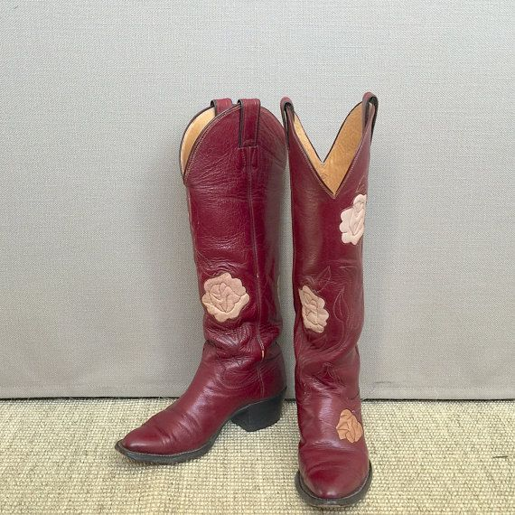 ON SALE Tall Justin Rose Inlay Cowgirl Boots Tall by CowboyHookup