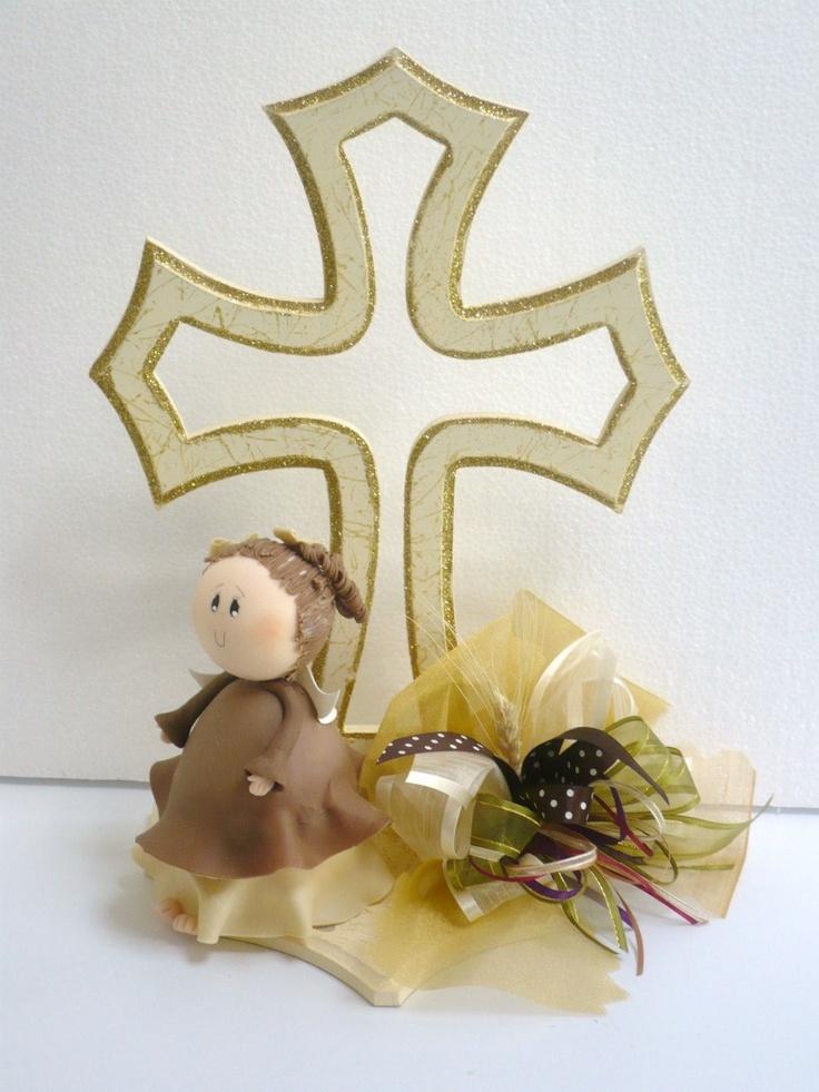 Centro de mesa bautizo primera comunion angel con cruz mlm