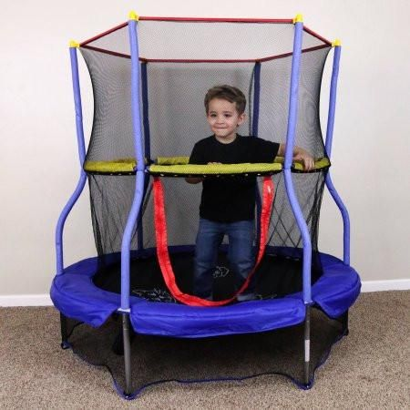 Kids Toddlers My First Enclosed Small Skywalker Trampoline with Safety Net