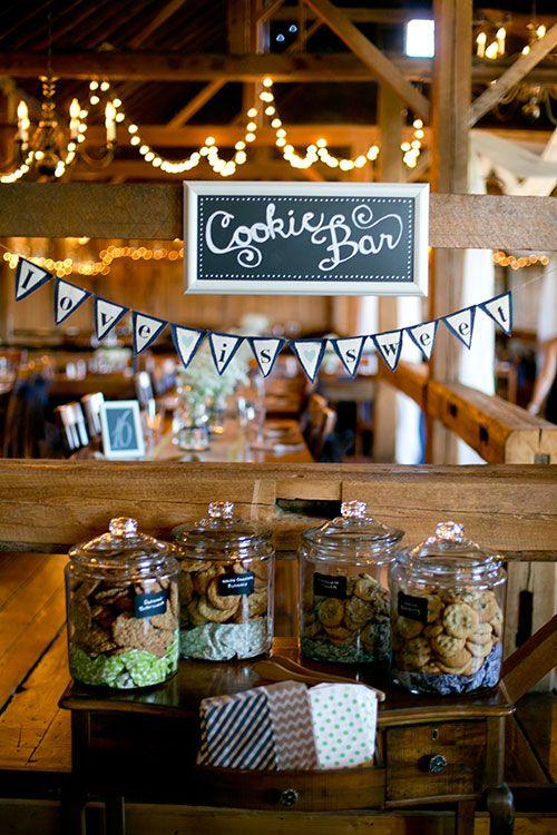 A cookie bar wedding dessert table | Brides.com