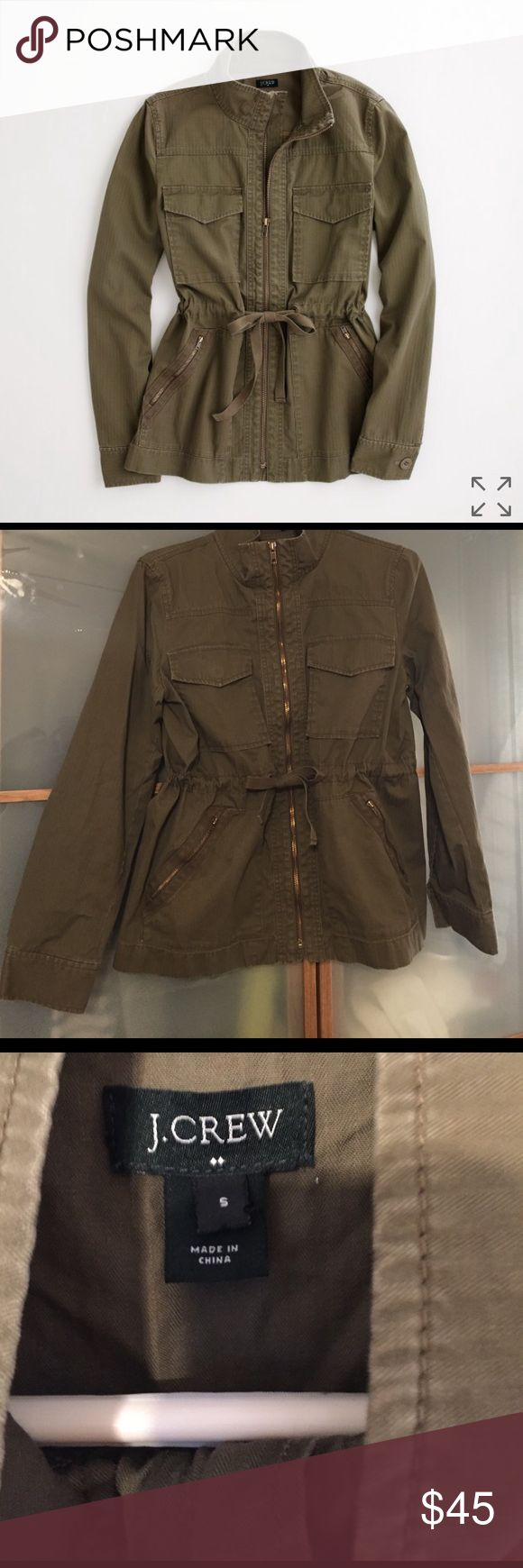 J.crew military jacket size small Olive green military jacket size small. Perfect for spring! Gently used. Good condition. Barely noticeable small stain on right side pocket. J. Crew Jackets & Coats