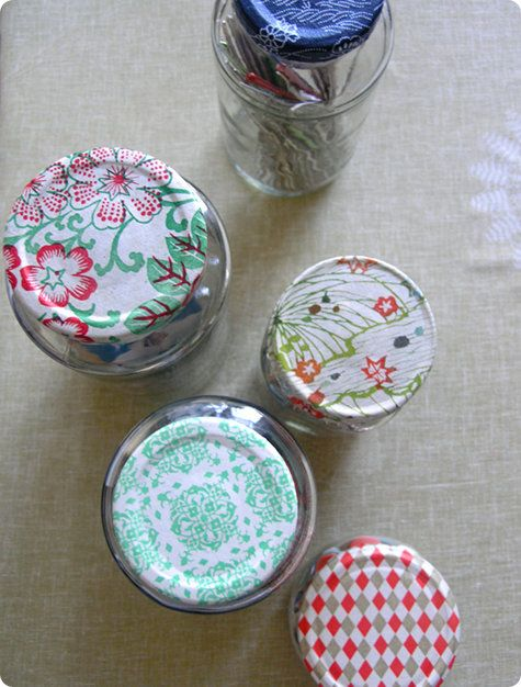 take your old glass jars and Modpodge pretty paper scraps on the lids! I use them for storing craft items and in my pantry.