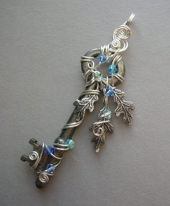 necklace asymmetrical beadwork coppertronic jewelry key pendant steampunk upcycled art wirework