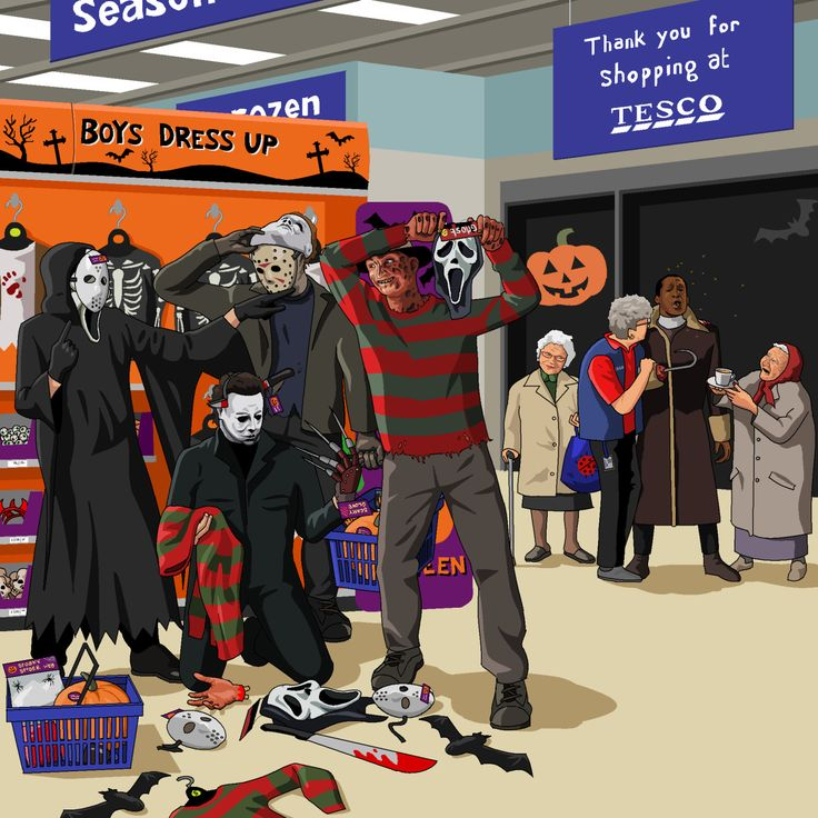 Freddy, Jason, Michael Myers, and Ghostface in Tesco ransacking the Halloween display and trying on masks of each other. They're all making fun of Candyman because there aren't any costumes of him and...