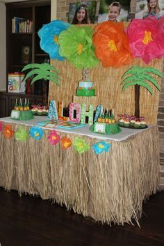 Party table at a  Hawaiian luau birthday party! See more party ideas at CatchMyParty.com!