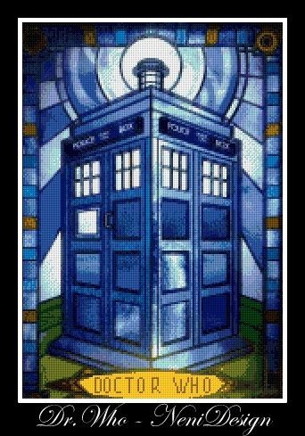 Dr. Who Tardis stained glass  cross stitch pattern by NeniDesign