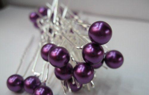 faux parel kristal bloem haarspelden ideaal voor bruids partij, bruidsmeisjes, proms, optochten haarspelden, pak van 12( paars)(China (Mainland))
