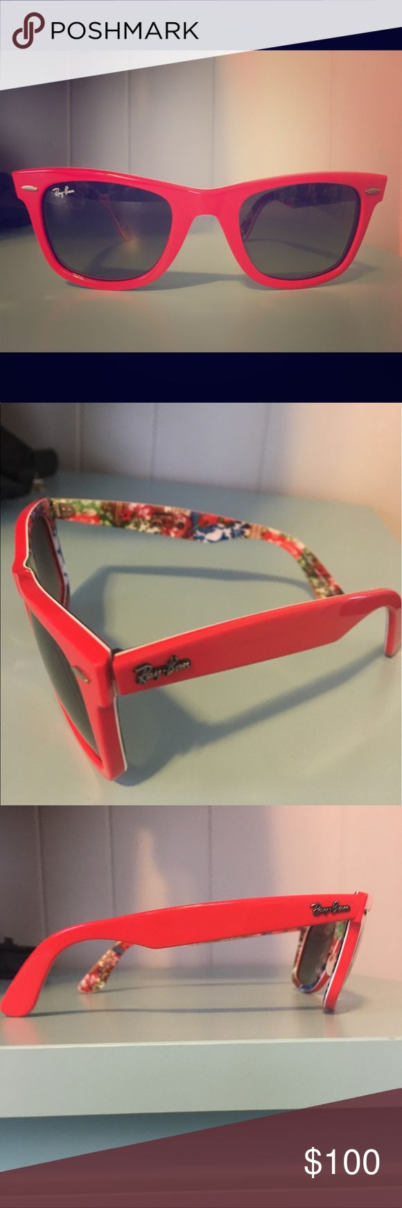 Ray Ban Wayfarer Rare Print! Awesome and authentic, red Ray Ban Wayfarers from the Rare Print series! Sleek red glasses with floral print on the inside, no scratches and original case is included! Feel free to make me an offer! ❤️ Ray-Ban Accessories Sunglasses