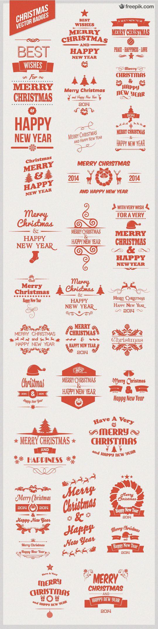 Free Download: 30 Christmas Vector Badges - Designbeep: