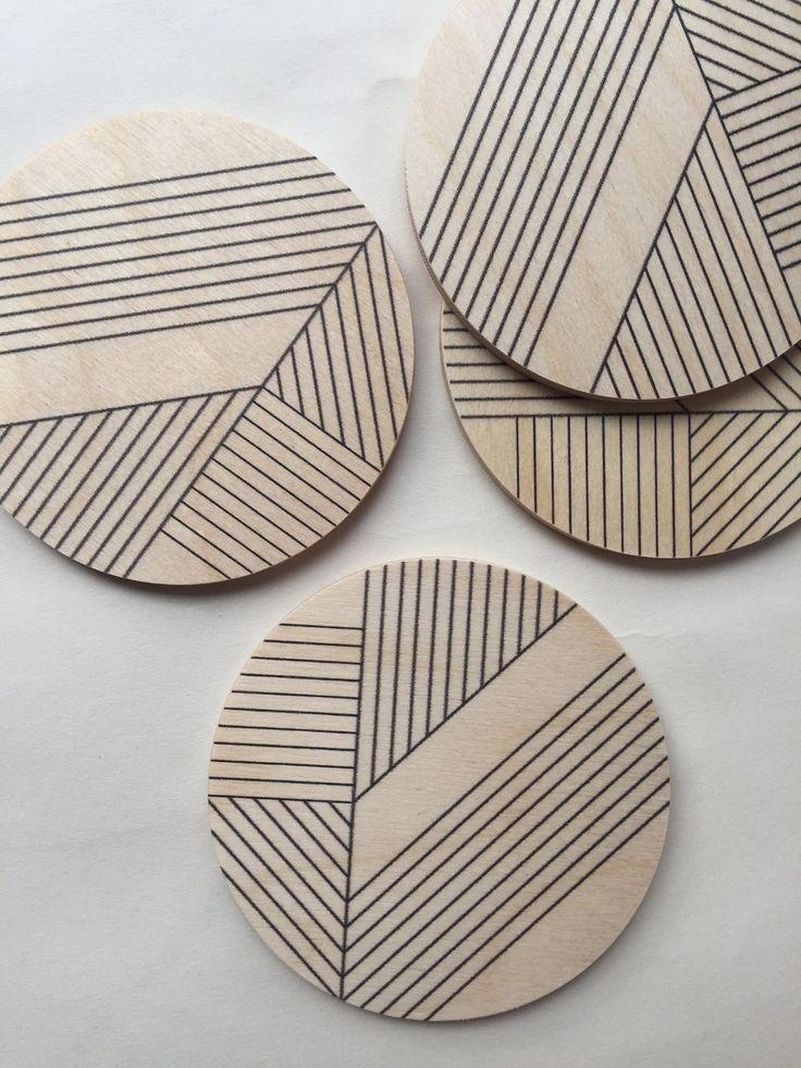 Art Deco Water Proof And Heat Proof Coasters Set Of 4 Etsy Modern Coasters Geometric Coaster Coasters