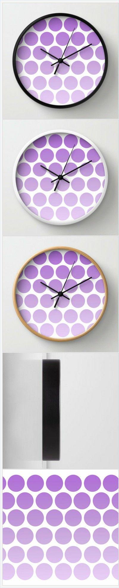 Purple Polka Dot Clock - Wall Clock - Polka Dots - Purple Clock - Choice of Frame Color - Made to Order