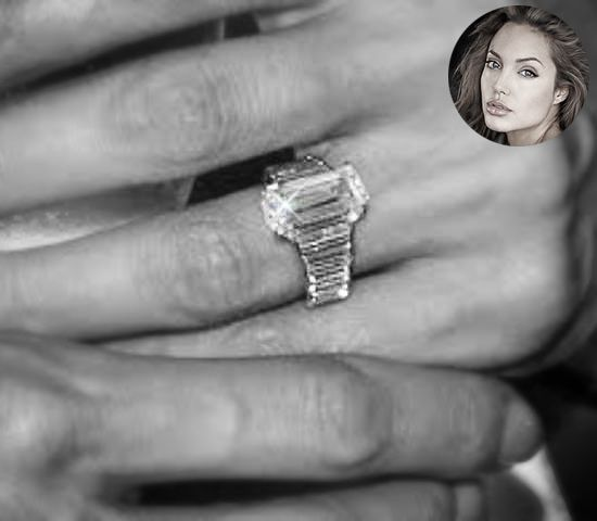Angelina Jolie's Emerald cut diamond engagement ring designed by Brad Pitt.